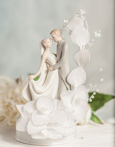 Dancing Bride and Groom Vintage Glitter Flower Wedding Cake Topper: Flower Arch Color: Ivory 0