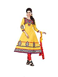 DKS Designers Women's Cotton Unstitched Dress Material (NIH09_Yellow_Free Size)