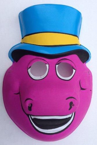 1992 Vintage Barney The Purple Dinosaur Child Halloween Mask front-688758
