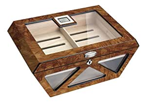 Visol Collin Matte Burlwood Glass Top Cigar Humidor - Holds 100 Cigars