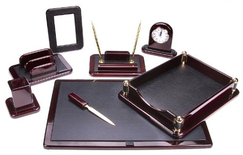 Majestic Goods Office Supply Dark Mahogany Oak with Black Eco-Friendly Leather Finish (W925) Oak Desk Accessories