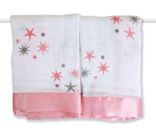aden + anais 2 Pack Muslin Issie Security Blanket, Rinny Pink Stars (Previous Model)