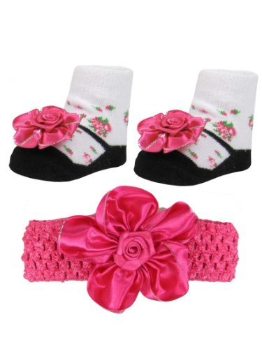 Baby Girls Hot Pink And Black Headwrap And Floral Mary Jane Sock Gift Set By Vitamins Baby - Hot Pink - 0-12 Mths