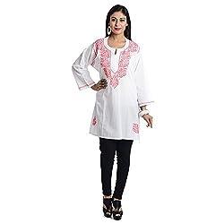 Ethnic Bliss Lifestyles Women Cotton Chikankari Straight Kurta (Ethnic Bliss Lifestyles Handmade Chikankari White With Pink Handwork Kurti _White With Pink Handwork _Large)