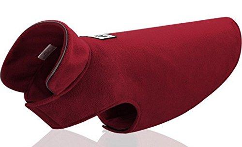 Polar Fleece pet cappotto invernale morbida striscia accogliente piccolo cane ent vestiti 3 colors5 formati , wine red , xl