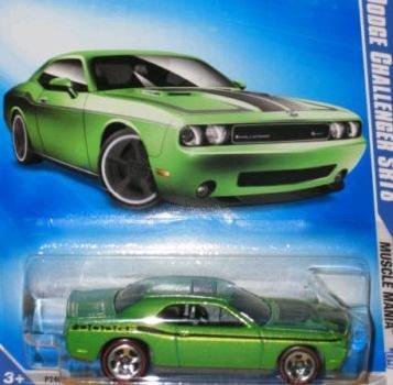 Hot Wheels 2009, '08 Dodge Challenger Srt8 Green #10/10 (Redline Rims Variation), 1:64 Scale.