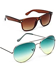 Unisex Uv Protected Combo Pack Of Aviator Sunglasses And Wyafarer Sunglasses ( Brown Wayfarer-Green Grident )...