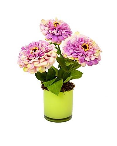 Creative Displays Multicolored Zinnia Flower Vase, Pink/Yellow/Green
