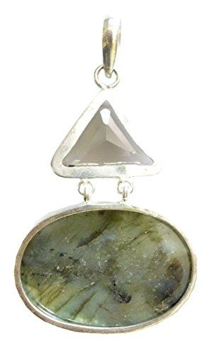 Fashion ciondoli per le donne argento Sterling 925pendenti Smoky e Labradorite Gemstone a mano ciondolo da Argento Tibetano