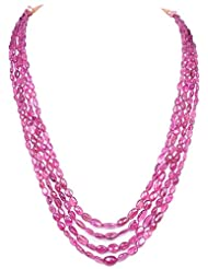 Gehna 4 Rows Of Pink Tourmaline Gemstone Oval Shape Bead Necklace