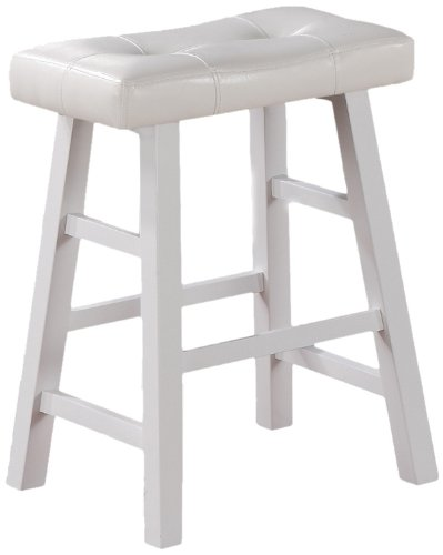 pure white faux leather set of 2 24 bar stools saddle counter height bar wood ebay. Black Bedroom Furniture Sets. Home Design Ideas