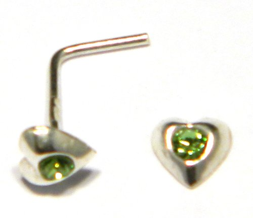 Heart Nose Stud - Green Austrian Crystal (appx 3mm) - Genuine 925 Sterling Silver. Add a little sparkle to your life!