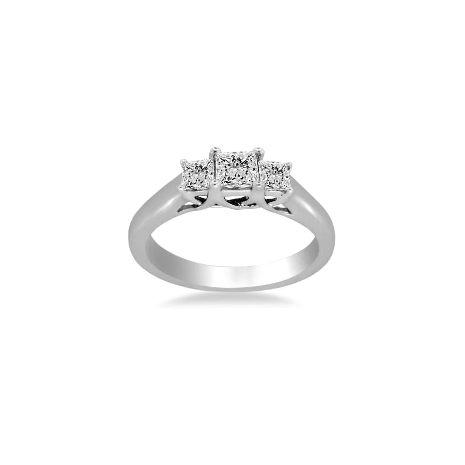 18K White Gold Prong Set Three Stone Trellis Diamond Ring