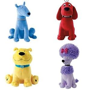 "and Friends - Set of 4 - 14"" Jumbo Plush: Clifford, Cleo, T-bone, Mac"