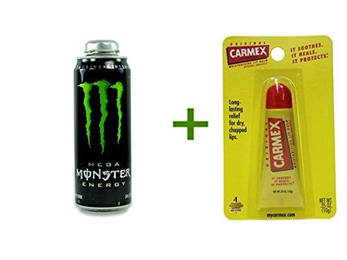 MONSTER ENERGY DRINK MEGA (Green) Cap 12/24oz, CARMEX MOISTURIZING LIP BALM Tubes 1ct (Monster Energy Mega compare prices)