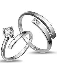 Karatcart Platinum Plated Trendy Elegant Austrian Crystal Adjustable Couple Ring For Women