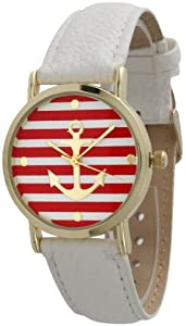 Women's Geneva Striped Anchor Style Leather Watch - White/Red