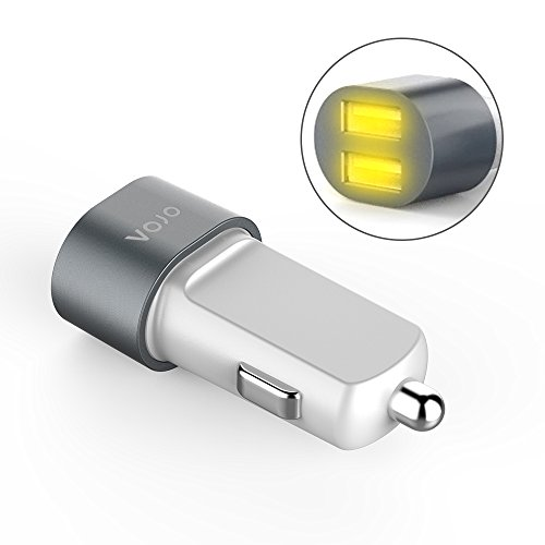 VOJO Bullet 5V 3.1A Dual USB Port Universal Car Charger Cigarette Lighter with LED - Grey (Lighted Car Charger compare prices)