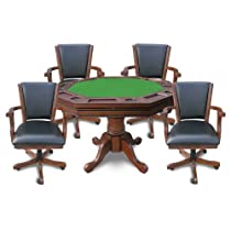 Hot Sale Hathaway Kingston 3-in-1 Poker Table with 4 Chairs, Walnut Finish