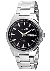 OMAX Men's Stainless Steel Casual Watch With Day And Date Feature Black - SS384