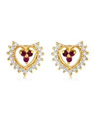 Mahi CZ Collection White And Red Gold Plated CZ Stones And Ruby Earrings For Women - ER1193518G