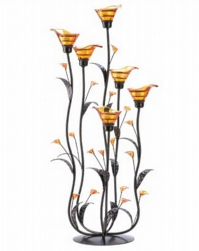 10 AMBER CALLA LILLY CANDLEHOLDER WEDDING CENTERPIECES 24 1/4