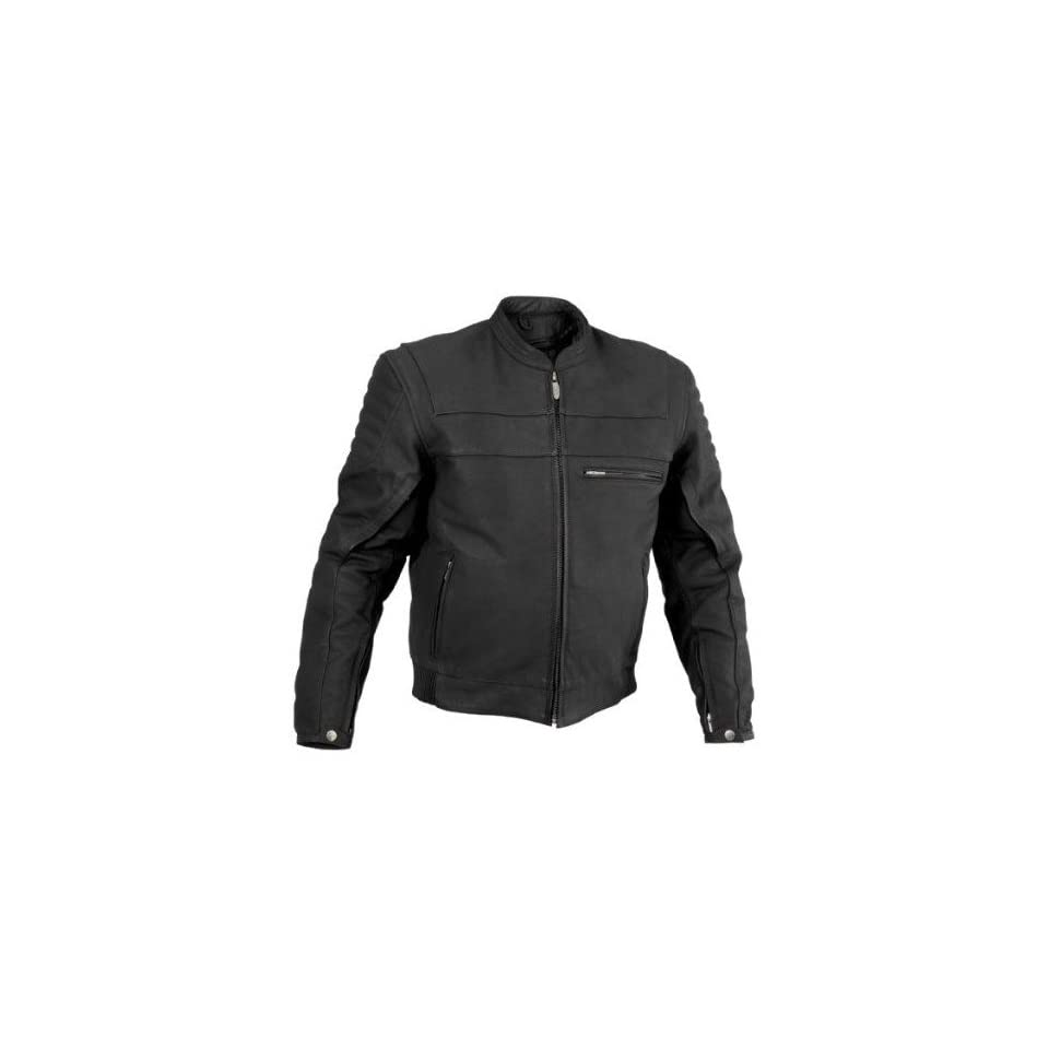 River Road Vise and Cameo Matte Black Leather Motorcycle Jacket (Mens & Womens)   Frontiercycle (Free U.S. Shipping) (44, Mens Vise)