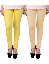 BrandTrendz Yellow And Peach Cotton Pack Of 2 Leggings