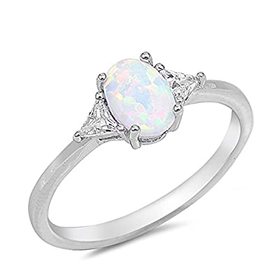 Lab Created White Opal & Cubic Zirconia .925 Sterling Silver Ring Sizes 4-10