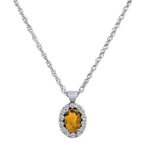 DivaDiamonds 14ct White Gold Oval Citrine and Diamond Pendant w/18 Inch Solid White Gold Chain (3/4 cttw, F-G, VS)