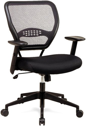 Office Star 5500 Space Air Grid Mid-Back Swivel Chair, Black, 20-1/2w x 19-1/2d x 42h