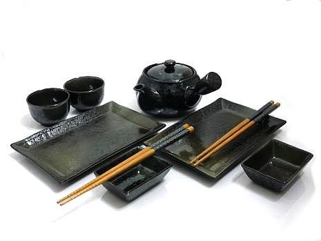 Mysushiset - 9 Piece Black Mist Sushi And Tea Set For Two