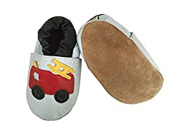 Tipsie Toes Baby Soft Sole Genuine Leather Shoes First Walkers - Fire Truck (4.4\