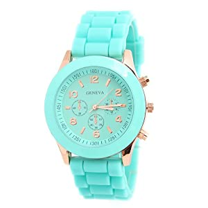 Candy-colored Green Geneva Silicone Colorful couple of style quartz watches