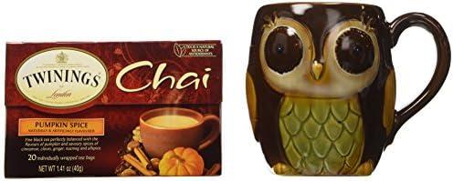 Twinings Pumpkin Spice Chai Tea with Chocolate Porcelain Owl Mug - Gift Boxed