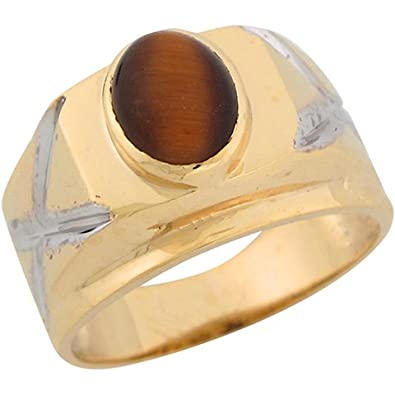 14ct Two Colour Real Gold Tigers Eye Criss Cross Design Mens Ring