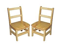 """Ecr4kids 10"""" 3-RUNG Assembled Ladderback Chairs - 2 Pack"""