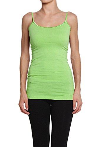 Themogan Women'S Sphagetti Strap Cami Tank Top Plain - Lime - X-Large