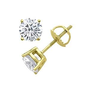 PARIKHS Round Diamond stud Privilege Quality in Screw Back 14K Yellow Gold (0.10 ctw, VS2 clarity)