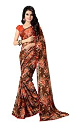 Aishwarya Women's Georgette Saree with Blouse Piece (Brown)