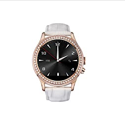 SURMOS Elegant Round Smart Crystal Diamond Watch Design for Women with Ip67 Waterproof Heart Rate Monitor IPS Touch Screen BBT Phone Leather Watch (White)