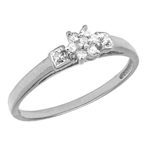 10K White Gold Flower Cluster Diamond Promise Ring