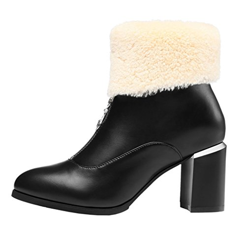 Guciheaven Women New Style Ponited-Toed Rough Heels Wool Shoes(8 B(M)Us, Black)