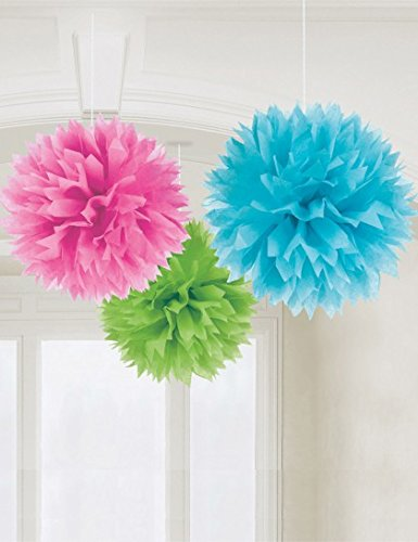 "Amscan Cute Multicolor Fluffy, 16"", Pink/Teal/Green"
