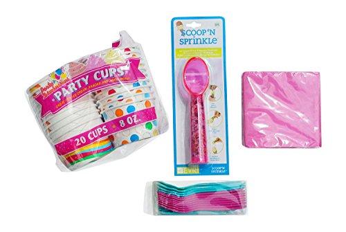Ice Cream Party Set - Bowls, Spoons, Napkins, Scoop/Sprinkle Dispenser for 20 (Sorbet Serving Bowls compare prices)