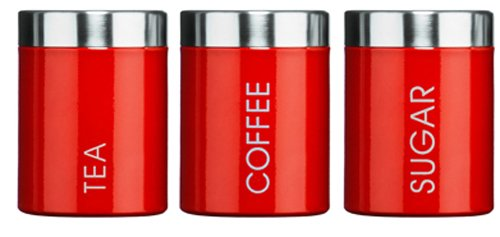 Red Tea Coffee and Sugar Canisters