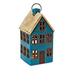 Ceramic House Tea Light Lantern - Blue