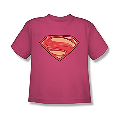Superman Man of Steel Hot Pink New Solid Shield Youth T-Shirt