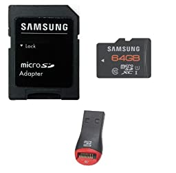 Samsung 64GB Class 10 MicroSDXC Ultra High Speed Memory Card 50MB/s Read 20MB/s Write with Komputerbay SD Adapter and MobileMate USB Reader