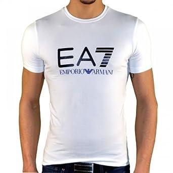 Ea7 Emporio Armani - Tee Shirt Manches Courtes - Homme - Train Graph Tee - Blanc Bleu - S